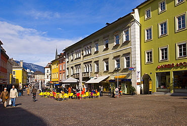 Sidewalk cafe on the main square in Villach, Carinthia, Austria