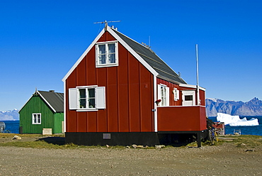 Typical Inuit wooden house, Qaarsut, Greenland