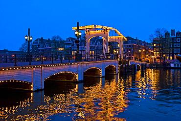 Magere Brug over Amstel River, Amsterdam, Netherlands, Europe