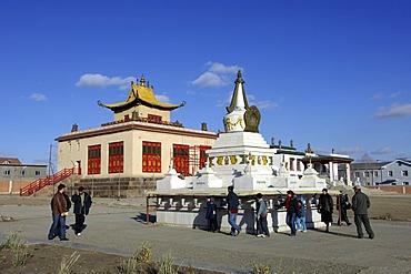 Stupa and Dechengalpa datsan Gandan Monastery Ulaan-Baatar Mongolia