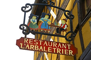 Traditional hotel sign Riquewihr Alsace France