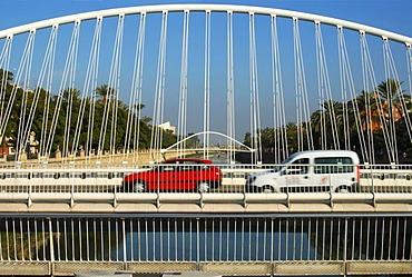 Modern bridges span the Rio Segura river Murcia Levante Spain