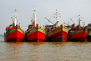 Fishing vessels in the port of My Tho Viet Nam
