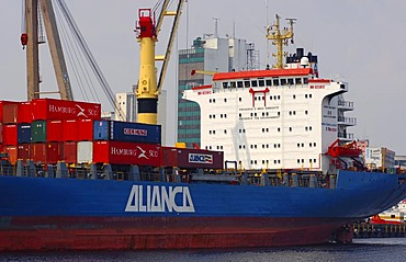 Container ship of the Alianca company (Oetker Group) in the port of Manaus Amazonas Brazil