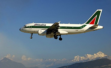 Alitalia Airbus A319-100, above Mount Mont Blanc, France
