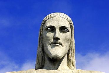 Head, Statue of Christ the Redeemer, new wonder of the world, Corcovado mountain, Rio de Janeiro, Brazil