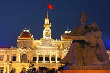 Monument of President Ho Chi Minh in front of the city's People's Committee Building Ho Chi Minh City Saigon Vietnam