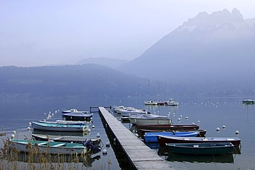 Landing stage for boats at the Lake of Annecy, Lac d'Annecy, Duingt, Haute-Savoie France