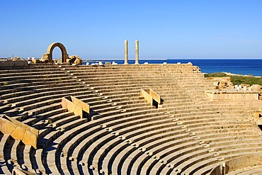 Curved rows of seats, theatre, Roman ruins, Leptis Magna, Libya