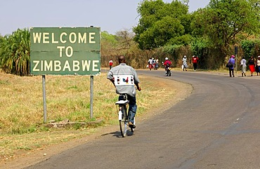 Border crossing from Lingstone, Zambia to Victoria Falls, Zimbabwe, Africa