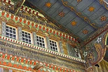 Painted traditional Swiss chalet, painting of the spouse of the constructor, Daerstetten, Simmental, Switzerland