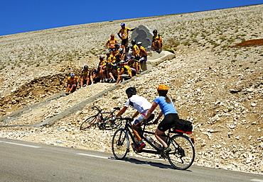 At the memorial to Tom Simpson, first doping fatality at the Tour de France, Mont Ventoux, Provence, France
