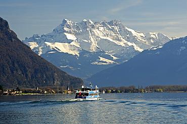 Ship excursion on Lake Geneva beneath the peaks of Dents du Midi, Montreux, Switzerland