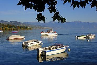 Life guard boat on Lake Geneva near Ouchy, Lausanne, Switzerland