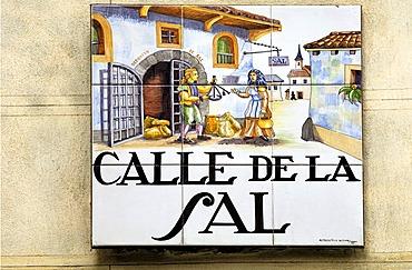 Salt street, Calle de Sal, street sign in the old town, Madrid, Spain