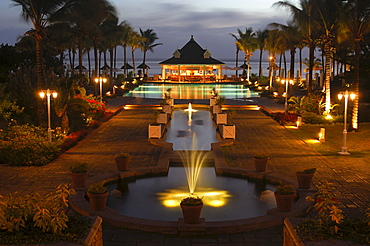 Twilight at the pool bar, Hotel Le Telfair, Mauritius