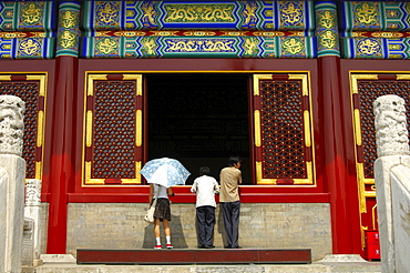 At the Imperial Hall of Heaven, view into the hall, Temple of Heaven, Beijing, China