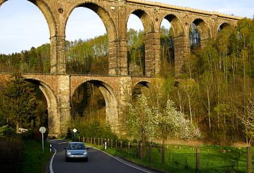 Technical monument Railway Viaduct Goehren bridging the valley of the river Zwickauer Mulde, Goehren, Saxony, Germany