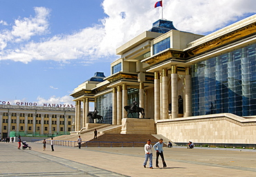 Parliament building and Government House at Sukhbaatar Square, Ulaanbaatar, Mongolia
