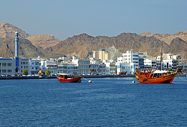 View of the Muttrah district of Muscat, Oman, Middle East