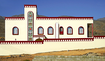 Facade of a modern residential home in a typical Arabian style, Sur, Oman, Middle East