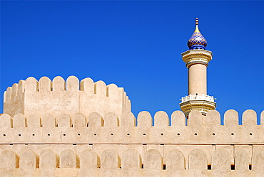 View from Nizwa fortress to the mosque's minaret, Nizwa, Oman, Middle East