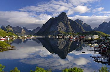 Village reflecting in the ocean, Reine, Lofoten, Norway