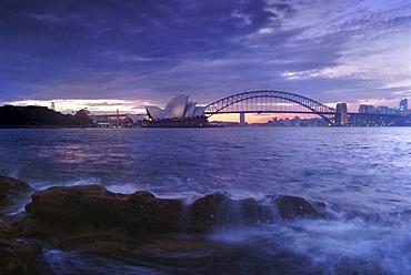 Opera and Harbour Bridge at dusk, Sydney, New South Wales, Australia