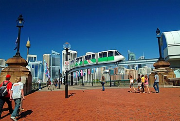 Monorail in front of Sydney Downtown, Darling Harbour, Sydney, New South Wales, Australia