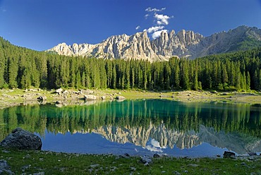 Lake Karer (Lago di Carezza), Latemar, Dolomites, South Tyrol, Italy