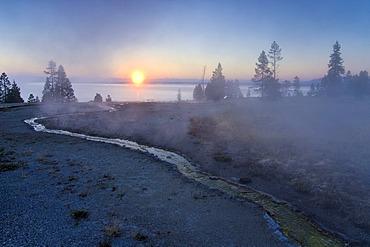 Morning fog at Yellowstone Lake, Yellowstone National Park, Wyoming, USA, United States of America