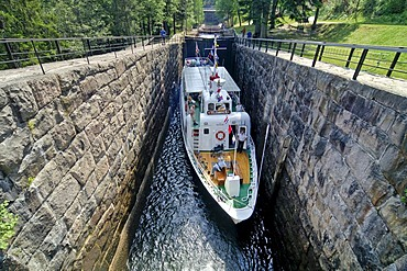 Ship in canal lock, Telemark, Norway