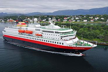 Ferry of the Hurtigruten, Bronnoy, Norway, Scandinavia