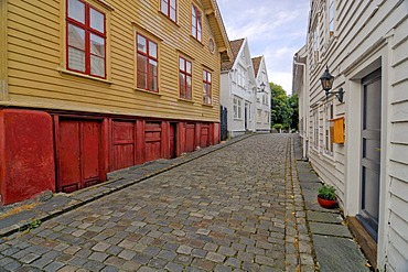 Narrow lane in the picturesque old town of Stavanger, Rogaland, Norway, Scandinavia, Europe