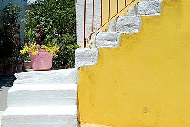 Stairs with flower pot, Fiscardo, Kefalonia, Ionian Islands, Greece