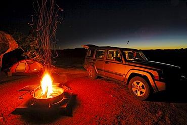 Camp at night, Canyonlands National Park, Utah, USA