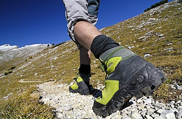 Feet and climbing boots of a hiker, Sextenan Dolomites, South Tyrol, Italy