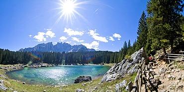 Karer lake (Lago di Carezza) Latemar, Dolomites, South Tyrol, Italy