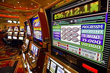 Slot machines in the casino of the MGM Grand Hotel, Strip, Las Vegas Boulevard, Las Vegas, Nevada, USA, North America