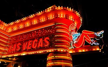 Neon advertising, MGM Grand Hotel, Strip, Las Vegas Boulevard, Las Vegas, Nevada, USA, North America