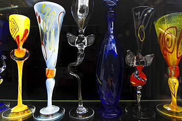 Glasses, glass blowing crafts on display in a shop window, Roeros, iron mining town, UNESCO World Heritage Site, Sor-Trondelag, Norway