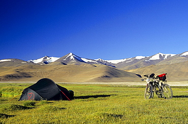 Two mountain bikes beside a tent, grass-covered plateau and snow-covered peaks, elevation over 4900 metres, Himalayas, Ladakh, India