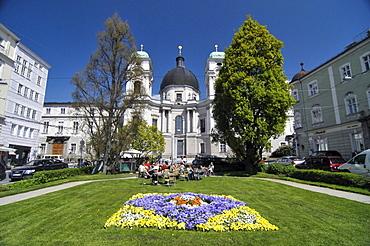 Flowerbed in a public park near Makartplatz Square, Salzburg, Austria, Europe