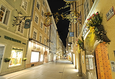 Getreidegasse alley at night, Salzburg, Austria, Europe