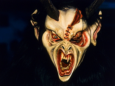 Krampus or devil mask, carved wooden mask