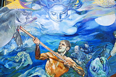 Mural painting depicting fishermen in a storm, Riomaggiore, Liguria, Cinque Terre, Italy, Europe