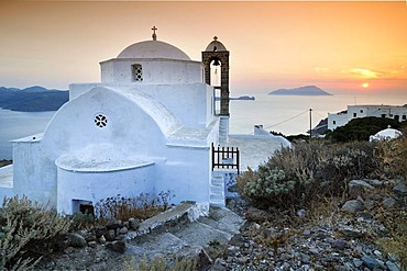Domed church Pangia Thalassitra, church on Milos with a view over the sea at sunset, Plaka, Cyclades, Greece, Europe