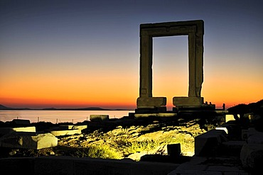 Gateway to antiquity, giant door or Portara of the Temple of Apollo at the town of Naxos, Cyclades Island Group, Greece, Europe