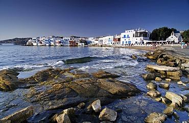 Rocky beach in front of Little Venice, Mykonos Island, Cyclades, Greece, Europe