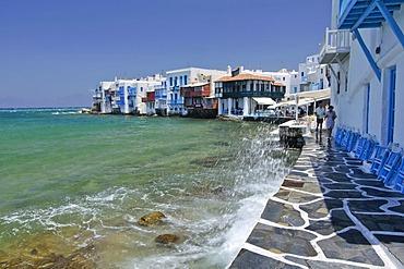 Promenade along the port of Little Venice, Mykonos Island, Cyclades, Greece, Europe